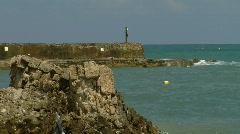 Caesarea  harbor zoom Stock Footage
