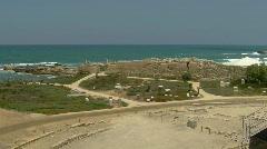 Caesarea theatre pan 2 Stock Footage
