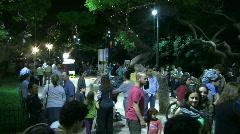 Tel Aviv white night street band Stock Footage