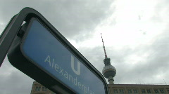 Berlin TV tower at Alexander Platz 2 Stock Footage