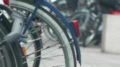 Bikes parked on the street 3 Stock Footage