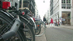 Bikes parked on the street 1 Stock Footage