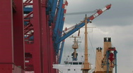 Harbour cranes and ships 6 Stock Footage