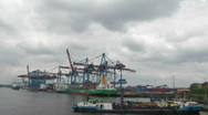 Harbour cranes and ships 4 Stock Footage