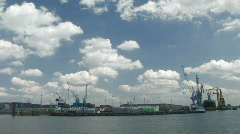 Rotterdam harbour panorama Stock Footage