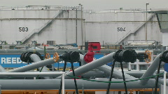 Harbour tanker and oil containers 1 Stock Footage