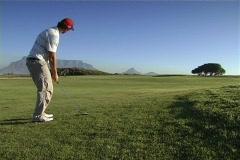 Golf green approach shot Stock Footage