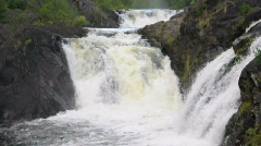 Kivach - the most powerfull waterfall in Karelia region Stock Footage