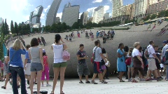 Teen girls pose in front of bean 3 - stock footage