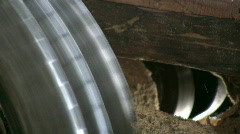 Old sawmill machinery Stock Footage