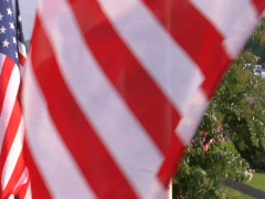 AMERICAN FLAG COUNTRY FENCE - stock footage