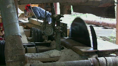 Old sawmill, Cut timber to board Stock Footage