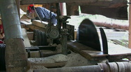 Stock Video Footage of Old sawmill, Cut timber to board