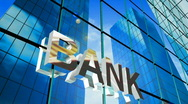 3d bank sign Stock Footage