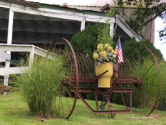FARM HOUSE YARD PLOW DISPLAY DETAIL FLAG Stock Footage