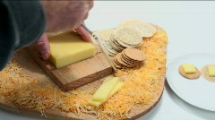 Man Slices Cheese    Stock Footage