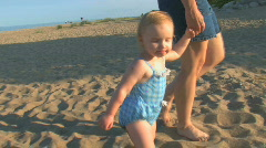 Toddler at Beach 2 - stock footage