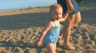 Toddler at Beach 2 Stock Footage