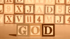 Wooden building blocks GOD sepia - HD  Stock Footage
