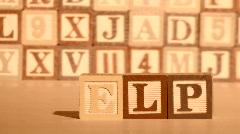 Wooden building blocks HELP sepia - HD  Stock Footage