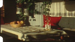 Living room at Christmas (vintage 8 mm amateur film) - stock footage