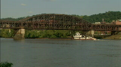 Pittsburgh Coal Barge Traffic 186 Stock Footage