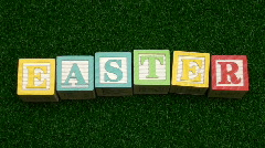 Building blocks EASTER on grass V2 - HD  Stock Footage