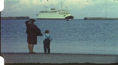 Ferry watching, Fehmarn, Germany (vintage 8 mm amateur film) Stock Footage