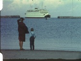 Stock Video Footage of Ferry watching, Fehmarn, Germany (vintage 8 mm amateur film)