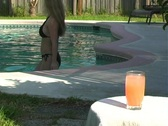 Drink at the Pool with a Bikini-clad Blonde Stock Footage