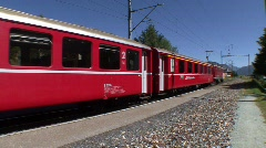 Red Swiss Train Departing - stock footage