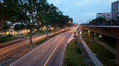 Timelapse video of night traffic scene in Singapore Stock Footage