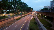 Stock Video Footage of Timelapse video of night traffic scene in Singapore