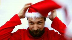 Facial Expressions. Funny Santa Stock Footage