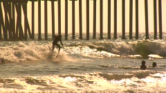 Huntington Surfer Stock Footage