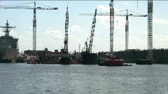 tug boat in ship yard 1 - stock footage