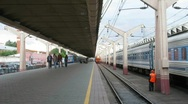 Train arrival on station Stock Footage