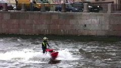 Jet Skier in river - stock footage