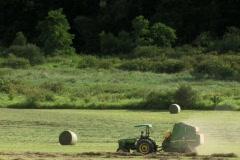 Farmer bailing hay in field in evening sun Stock Footage