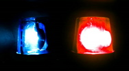Stock Video Footage of police blue red lights twin