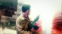 GI mark soldier terrorist attack bomb explosion iraq - stock footage