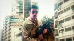 GI mark soldier iraq war gun idle - stock footage