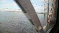 Stock Video Footage of passing long bridge across river