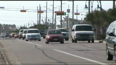 South Padre city traffic shot Stock Footage