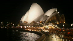 Sydney Opera House Night, Harbor at Night - stock footage