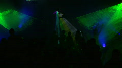 HD1080p Laser Light Show Event in the disco with people silhouette Stock Footage