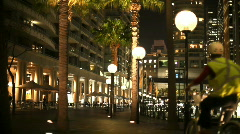 Night Bike Rider, City Lights, Sydney Circular Quay Stock Footage