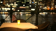 Candlelight Dinner in City - Empty Dining Table Stock Footage