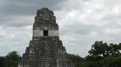 Tikal Temple in the Grand Plaza Guatemala Stock Footage