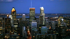Montreal city Skyline at Night from Mt Royal Stock Footage